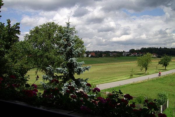 Blick vom Balkon auf den Nachbarort Haid
